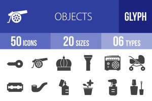 50 Objects Glyph Icons - Overview - IconBunny