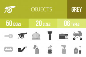 50 Objects Greyscale Icons - Overview - IconBunny