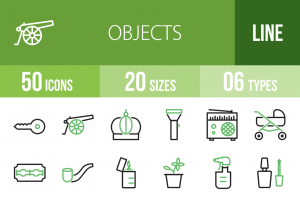 50 Objects Line Green & Black Icons - Overview - IconBunny