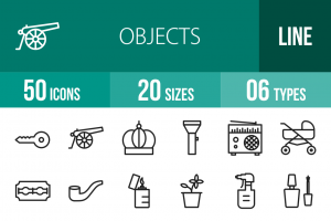 50 Objects Line Icons - Overview - IconBunny