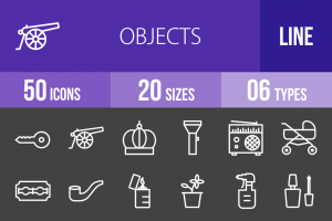 50 Objects Line Inverted Icons - Overview - IconBunny