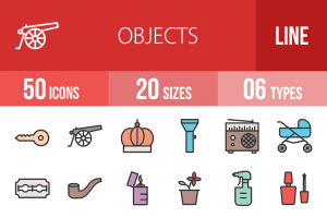 50 Objects Line Multicolor Filled Icons - Overview - IconBunny