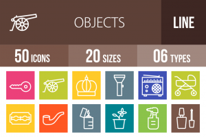 50 Objects Line Multicolor B/G Icons - Overview - IconBunny