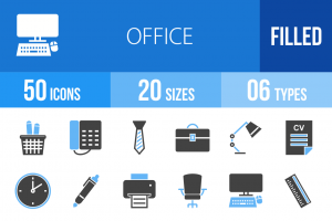50 Office Blue & Black Icons - Overview - IconBunny