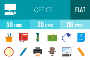 50 Office Flat Multicolor Icons - Overview - IconBunny
