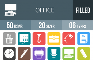 50 Office Flat Round Corner Icons - Overview - IconBunny