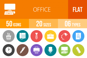 50 Office Flat Round Icons - Overview - IconBunny