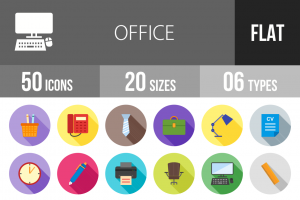 50 Office Flat Shadowed Icons - Overview - IconBunny
