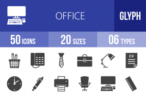 50 Office Glyph Icons - Overview - IconBunny