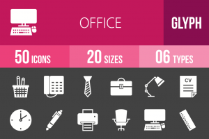 50 Office Glyph Inverted Icons - Overview - IconBunny