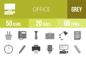 50 Office Greyscale Icons - Overview - IconBunny