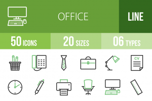 50 Office Line Green & Black Icons - Overview - IconBunny