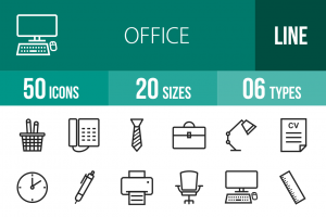 50 Office Line Icons - Overview - IconBunny