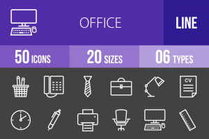 50 Office Line Inverted Icons - Overview - IconBunny