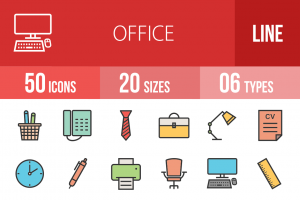 50 Office Line Multicolor Filled Icons - Overview - IconBunny