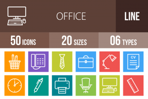 50 Office Line Multicolor B/G Icons - Overview - IconBunny
