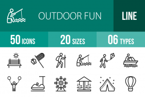 50 Outdoor Fun Line Icons - Overview - IconBunny