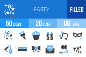 50 Party Blue & Black Icons - Overview - IconBunny