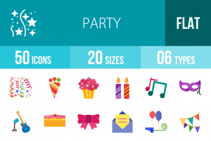 50 Party Flat Multicolor Icons - Overview - IconBunny