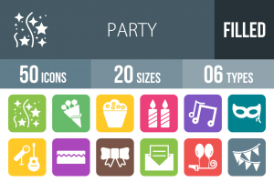 50 Party Flat Round Corner Icons - Overview - IconBunny