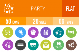 50 Party Flat Round Icons - Overview - IconBunny