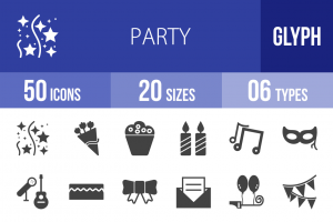 50 Party Glyph Icons - Overview - IconBunny
