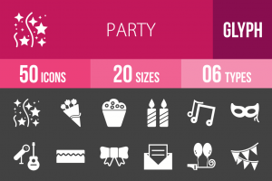 50 Party Glyph Inverted Icons - Overview - IconBunny