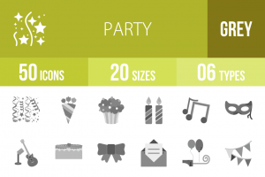 50 Party Greyscale Icons - Overview - IconBunny