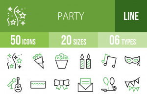 50 Party Line Green & Black Icons - Overview - IconBunny