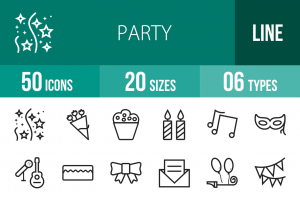 50 Party Line Icons - Overview - IconBunny