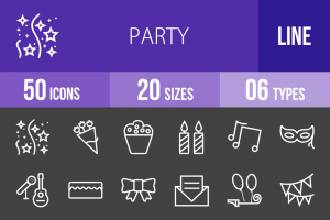 50 Party Line Inverted Icons - Overview - IconBunny