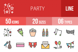 50 Party Line Multicolor Filled Icons - Overview - IconBunny