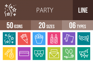 50 Party Line Multicolor B/G Icons - Overview - IconBunny
