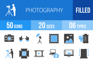 50 Photography Blue Black Icons - Overview - IconBunny