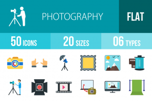 50 Photography Flat Multicolor Icons - Overview - IconBunny