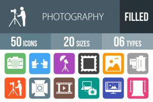 50 Photography Flat Round Corner Icons - Overview - IconBunny