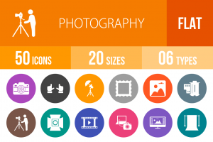 50 Photography Flat Round Icons - Overview - IconBunny