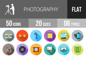 50 Photography Flat Shadowed Icons - Overview - IconBunny