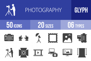 50 Photography Glyph Icons - Overview - IconBunny