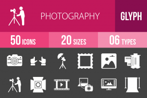 50 Photography Glyph Inverted Icons - Overview - IconBunny