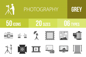 50 Photography Greyscale Icons - Overview - IconBunny