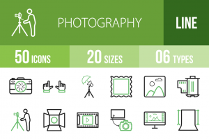 50 Photography Line Green Black Icons - Overview - IconBunny