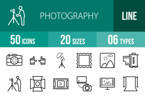 50 Photography Line Icons - Overview - IconBunny