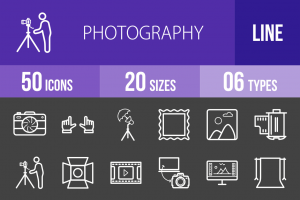 50 Photography Line Inverted Icons - Overview - IconBunny