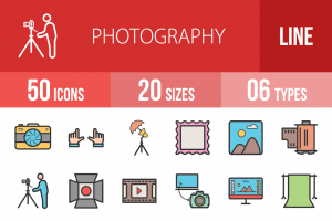 50 Photography Line Multicolor Filled Icons - Overview - IconBunny