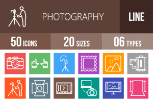 50 Photography Line Multicolor B/G Icons - Overview - IconBunny