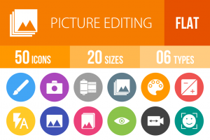 50 Picture Editing Flat Round Icons - Overview - IconBunny