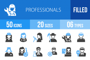 50 Professionals Blue & Black Icons - Overview - IconBunny