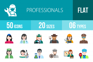 50 Professionals Flat Multicolor Icons - Overview - IconBunny