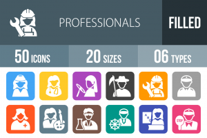50 Professionals Flat Round Corner Icons - Overview - IconBunny
